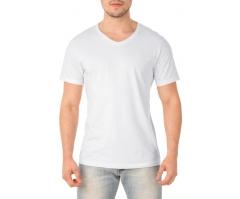 VENDA UNITÁRIA - Camiseta de Algodão 30.1 Penteado Branca Gola V