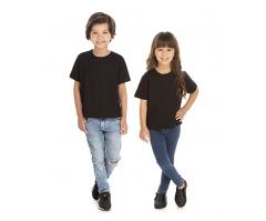 KIT 10 peças - Camiseta Infantil de Algodão 30.1 Penteado Preta