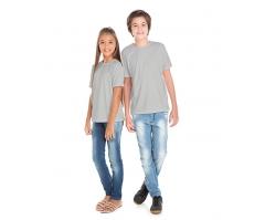 KIT 10 peças - Camiseta Juvenil de Poliéster / Sublimática Cinza Claro