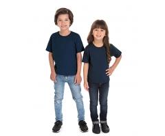 VENDA UNITÁRIA - Camiseta Infantil de Algodão 30.1 Penteado Azul Marinho