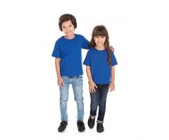 VENDA UNITÁRIA - Camiseta Infantil de Algodão 30.1 Penteado Azul Royal