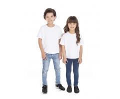 VENDA UNITÁRIA - Camiseta Infantil de Algodão 30.1 Penteado Branca