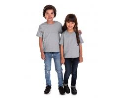 VENDA UNITÁRIA - Camiseta Infantil de Algodão 30.1 Penteado Cinza Mescla