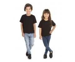 VENDA UNITÁRIA - Camiseta Infantil de Algodão 30.1 Penteado Preta