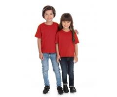 VENDA UNITÁRIA - Camiseta Infantil de Algodão 30.1 Penteado Vermelha