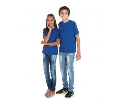 VENDA UNITÁRIA - Camiseta Juvenil de Algodão 30.1 Penteado Azul Royal