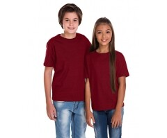 Camiseta Juvenil de Algodão Penteado Bordô
