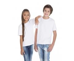 VENDA UNITÁRIA - Camiseta Juvenil de Algodão 30.1 Penteado Branca