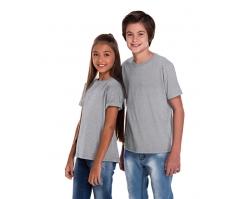 VENDA UNITÁRIA - Camiseta Juvenil de Algodão 30.1 Penteado Cinza Mescla