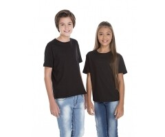 VENDA UNITÁRIA - Camiseta Juvenil de Algodão 30.1 Penteado Preta