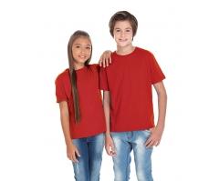 VENDA UNITÁRIA - Camiseta Juvenil de Algodão 30.1 Penteado Vermelha