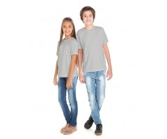 VENDA UNITÁRIA - Camiseta Juvenil de Poliéster / Sublimática Cinza Claro