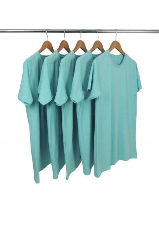 5 PEÇAS - Camiseta Comfort Mescla Azul Turquesa