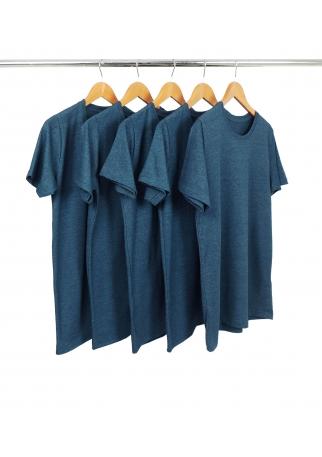 5 PEÇAS - Camiseta Comfort Mescla Petróleo