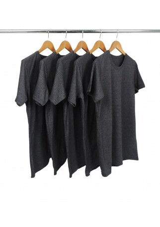 5 PEÇAS - Camiseta Comfort Mescla Preta