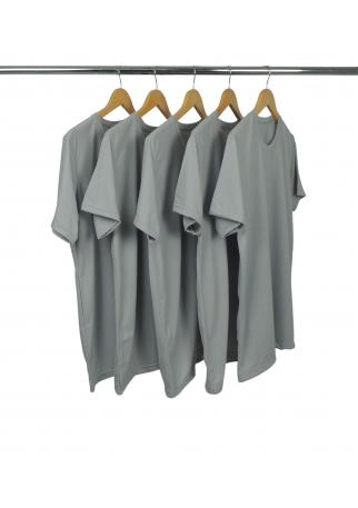 5 PEÇAS - Camiseta PV / Malha Fria Cinza Chumbo