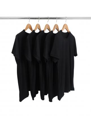 5 PEÇAS - Camiseta PV / Malha Fria Preta