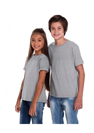 Camiseta Juvenil de Poliéster / Sublimática Cinza Mescla