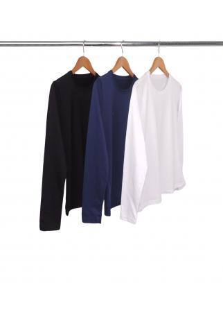 Combo 3 Camisetas Femininas Manga Longa de Algodão Penteado