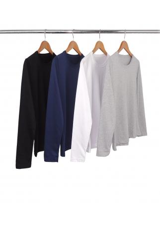 Combo 4 Camisetas Femininas Manga Longa de Algodão Penteado