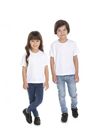 5 PEÇAS - Camiseta Infantil de Poliéster / Sublimática Branca