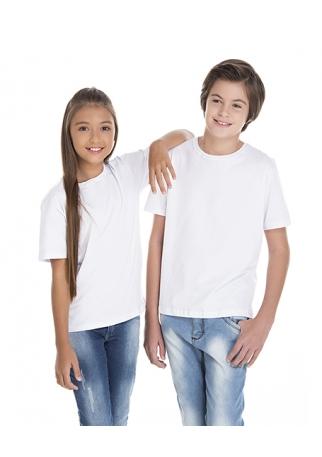 5 PEÇAS - Camiseta Juvenil de Algodão Penteado Branca