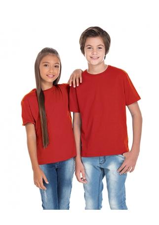5 PEÇAS - Camiseta Juvenil de Algodão Penteado Vermelha