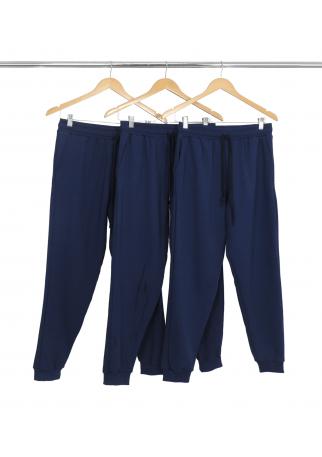 Kit 3 Calças Masculinas de Moletom Azul Marinho