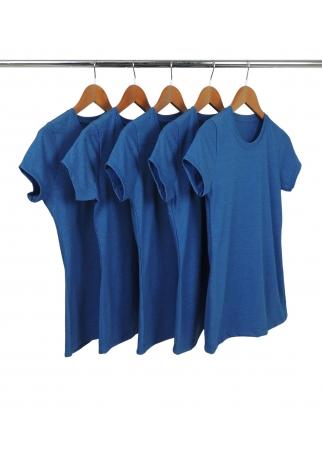 Kit 5 Camiseta Feminina Comfort Mescla Azul Royal