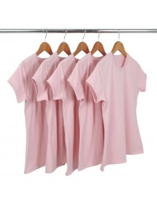 Kit 5 Camisetas Femininas Comfort Mescla Rosa Claro