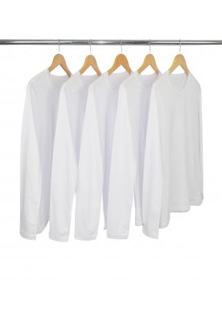 Kit 5 Camisetas Femininas Manga Longa de Algodão Premium Branca