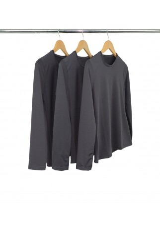 Kit 3 Camisetas Segunda Pele Manga Longa Feminina Cinza Chumbo UV 50+