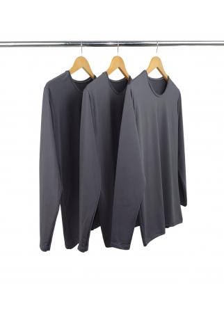 Kit 3 Camisetas Segunda Pele Manga Longa Masculina Cinza Chumbo UV 50+