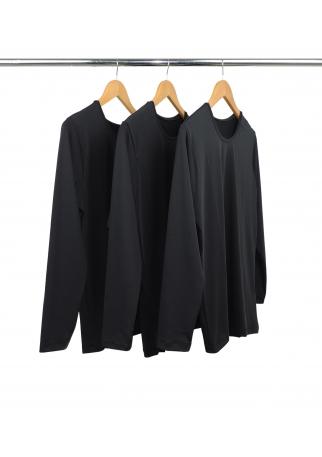 Kit 3 Camisetas Segunda Pele Manga Longa Masculina Preta UV 50+