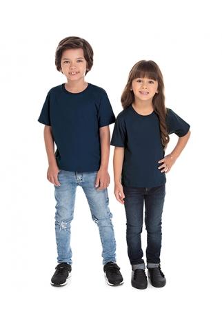 Camiseta Infantil de Algodão Penteado Azul Marinho