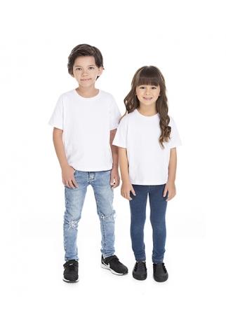 Camiseta Infantil de Algodão Penteado Branca