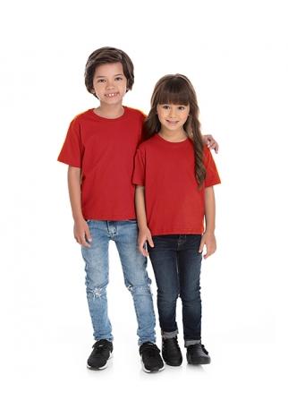 Camiseta Infantil de Algodão Penteado Vermelha