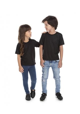 Camiseta Infantil de Poliéster / Sublimática Preta