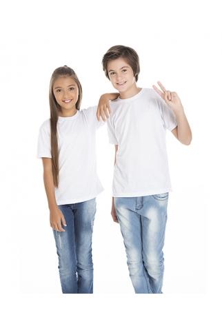Camiseta Juvenil de Poliéster / Sublimática Branca