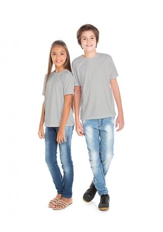 Camiseta Juvenil de Poliéster / Sublimática Cinza Claro