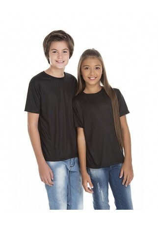 Camiseta Juvenil de Poliéster / Sublimática Preta