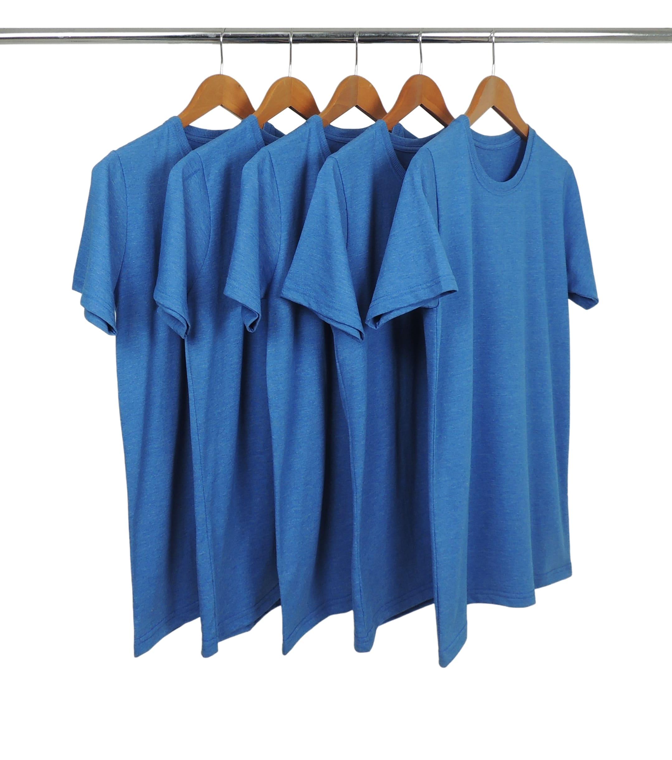 5 PEÇAS - Camiseta Comfort Mescla Azul Royal