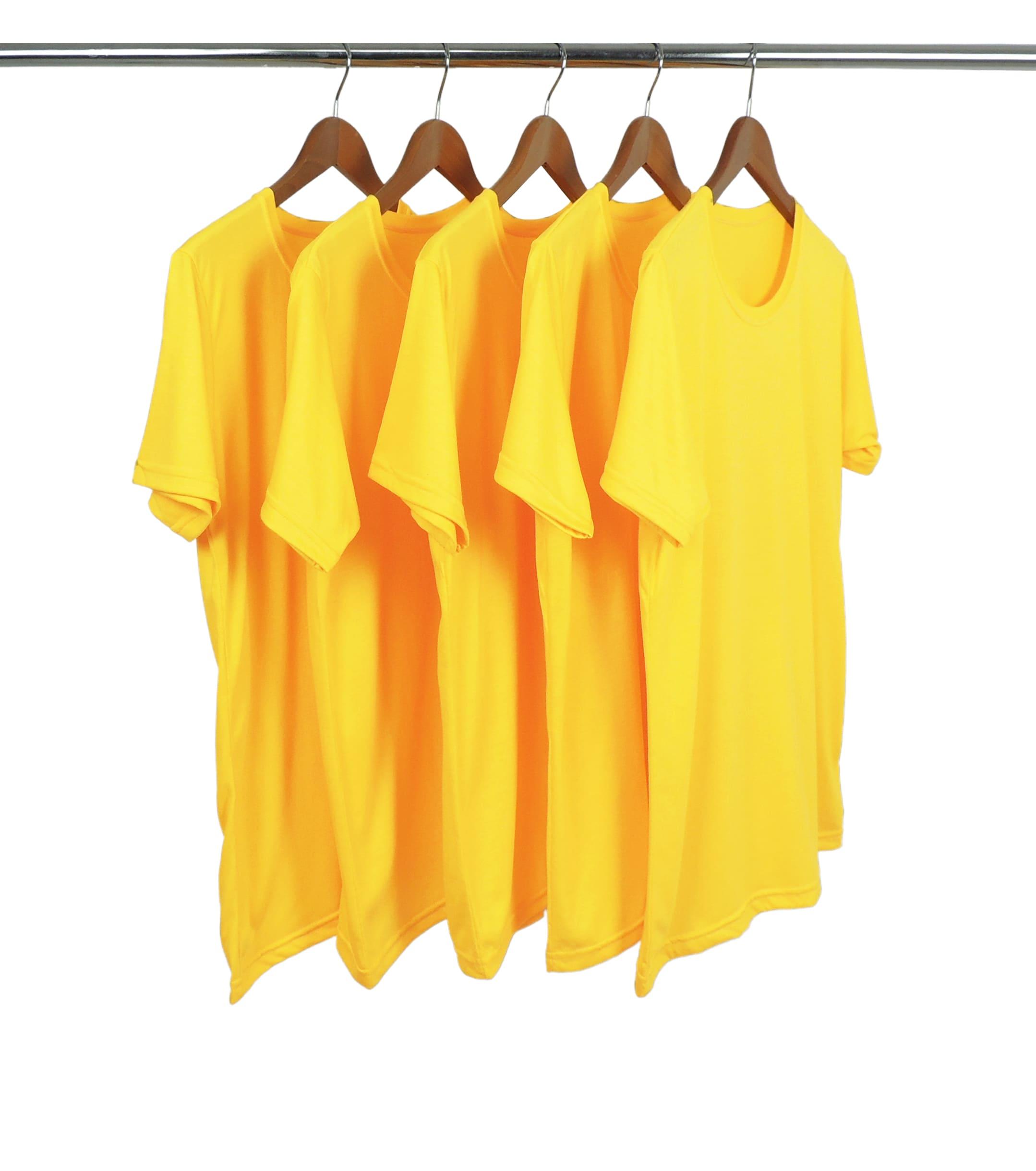 5 PEÇAS - Camiseta PV / Malha Fria Amarelo Canário