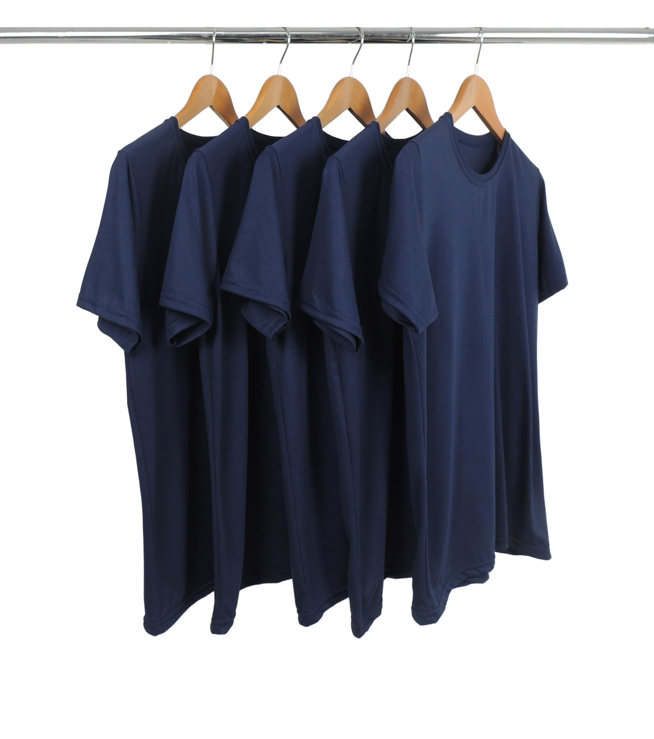 5 PEÇAS - Camiseta PV / Malha Fria Azul Marinho