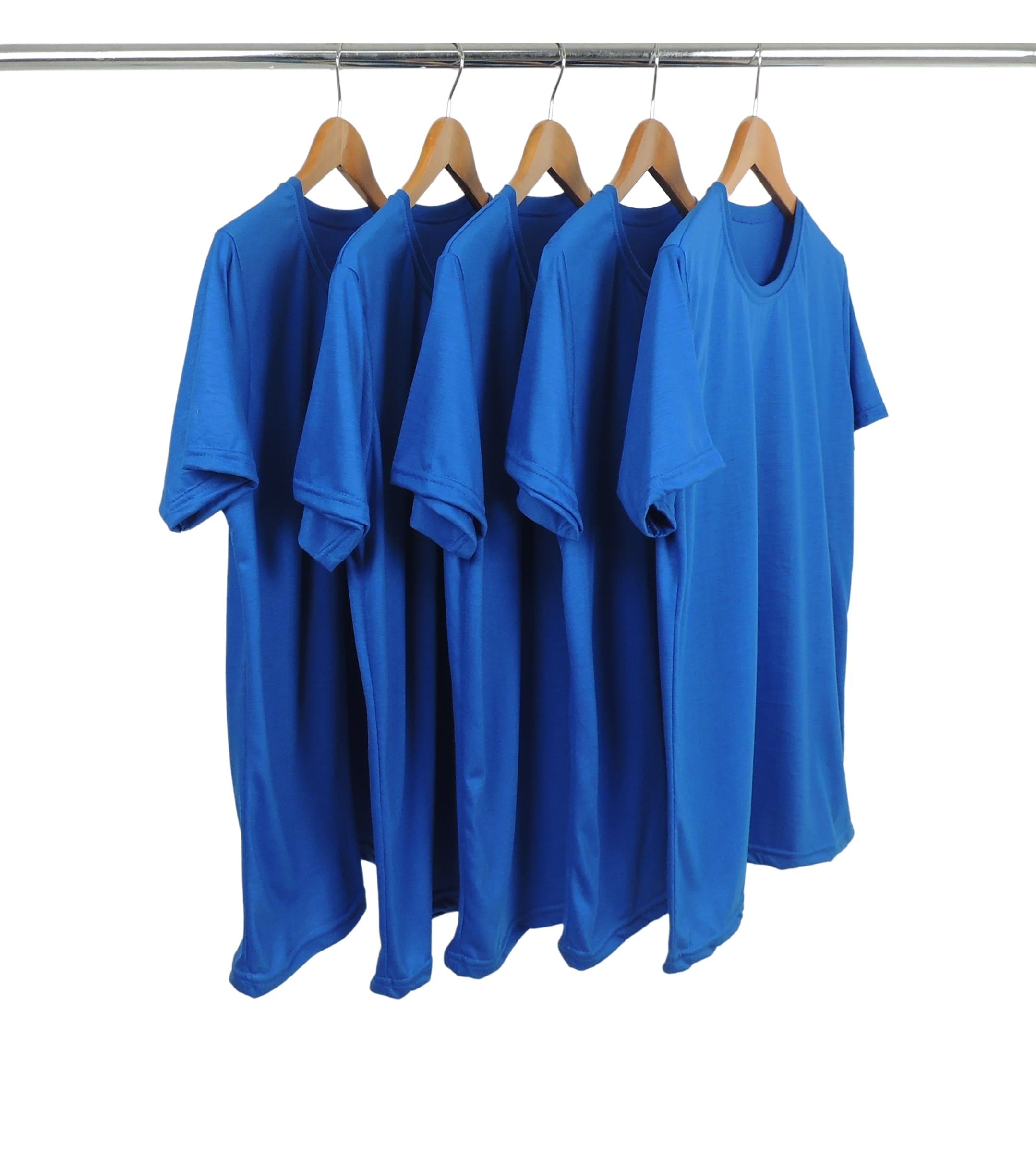 5 PEÇAS - Camiseta PV / Malha Fria Azul Royal