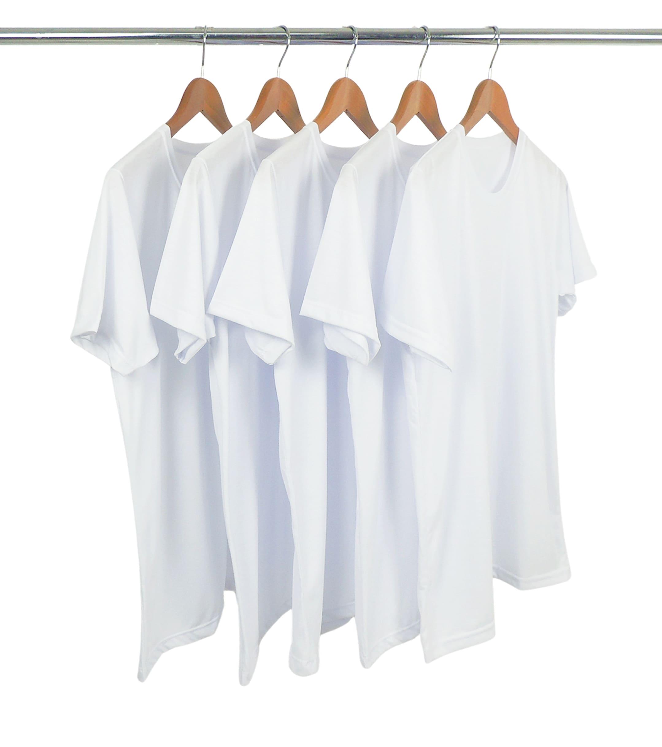 5 PEÇAS - Camiseta PV / Malha Fria Branca