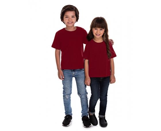5 PEÇAS - Camiseta Infantil de Algodão Penteado Bordô