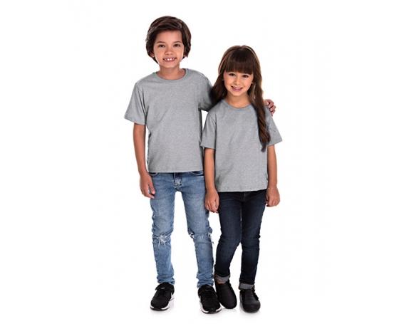 5 PEÇAS - Camiseta Infantil de Algodão Penteado Cinza Mescla