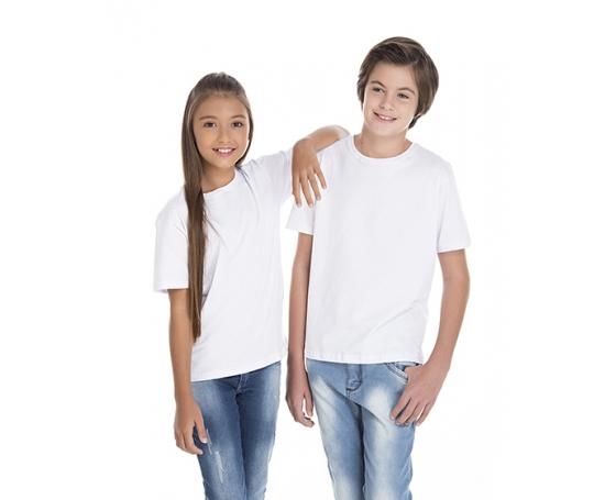 KIT 10 peças - Camiseta Juvenil de Algodão 30.1 Penteado Branca