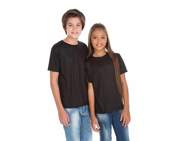 5 PEÇAS - Camiseta Juvenil de Poliéster / Sublimática Preta